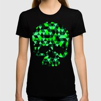 Triangle Camouflage Skul… Womens Fitted Tee Black SMALL