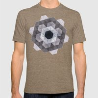 Patchwork Tiles III (monochrome flowers) Mens Fitted Tee Tri-Coffee SMALL
