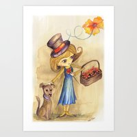 Flower Girl And Her Frie… Art Print