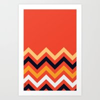 Retro Zigzag Art Print