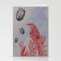 Beetles and Bird Stationery Cards