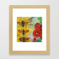 Hollyhocks and Honey Framed Art Print