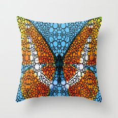 Stone Rock'd Butterfly By Sharon Cummings Throw Pillow