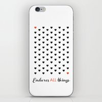 Love Endures All (Blk/Re… iPhone & iPod Skin