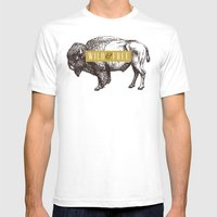 Wild & Free (Bison) Mens Fitted Tee White SMALL