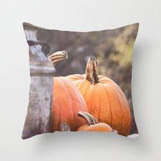 pumpkins + milk cans Throw Pillow