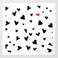 Black Hearts With One Pi… Art Print