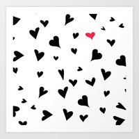 Black Hearts With One Pi… Art Print