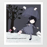 Alice With Cards Art Print