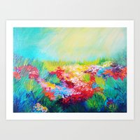 ETHERIAL DAYS - Stunning Floral Landscape Nature Wildflower Field Colorful Bright Floral Painting Art Print