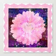 Pink flower with sparkles  Canvas Print