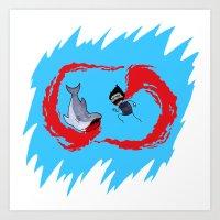 Zombie Vs Shark! Art Print