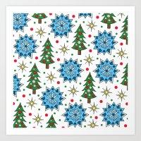 Christmas Trees And Star… Art Print