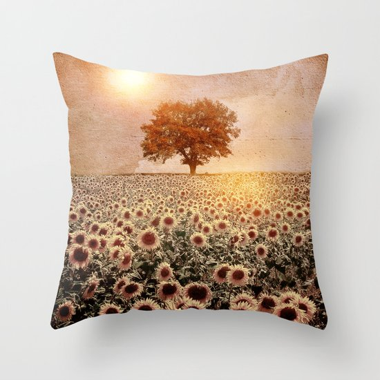 lone tree & sunflowers field (colour option) Throw Pillow