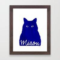 MIAOU bleu Framed Art Print