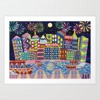 Hong Kong By Night Art Print