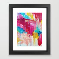 ELATED - Beautiful Bright Colorful Modern Abstract Painting Wild Rainbow Pastel Pink Color Framed Art Print