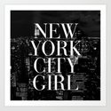 New York City Girl Black & White Skyline Vogue Typography Art Print