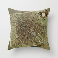 Old Paris Map And Other … Throw Pillow
