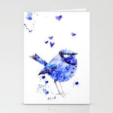 Little blue bird Stationery Cards
