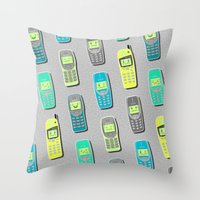Vintage Cellphone Pattern Throw Pillow