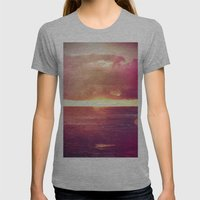Ocean Sunset Bokeh Womens Fitted Tee Athletic Grey SMALL