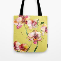 Pink Orchids in Yellow Tote Bag