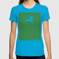 New York Minimalist Vint… Womens Fitted Tee Teal SMALL