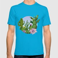 Cactus & Succulents Mens Fitted Tee Teal SMALL