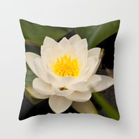 White Water Lilly Throw Pillow