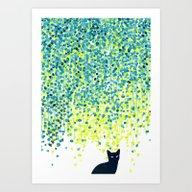 Cat In The Garden Under … Art Print