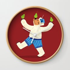 A Bear With Pears (colour variation) Wall Clock