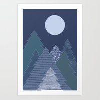 Magic Night Trees Art Print