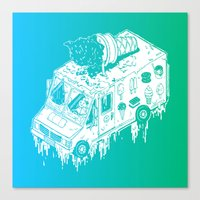 Melty Ice Cream Truck - Mint Canvas Print