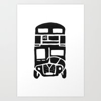 London bus linoprint Art Print