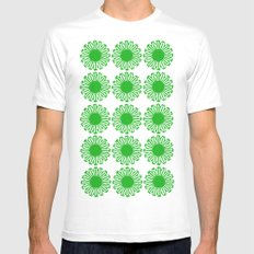 vintage flowers green SMALL White Mens Fitted Tee
