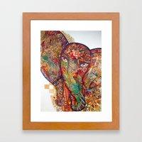 Red  Divine Runes Elepha… Framed Art Print