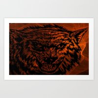 angry wolf fire Art Print