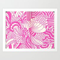 Pink Doodles And Swirls Art Print
