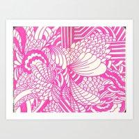Pink Doodles and Swirls Art Print