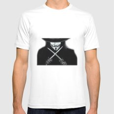 V for Vendetta  (by Esin )5 SMALL White Mens Fitted Tee