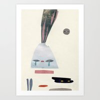 volacno and moon Art Print