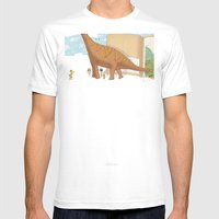 Book Dinossaur Mens Fitted Tee White SMALL