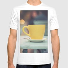 The yellow cup White SMALL Mens Fitted Tee