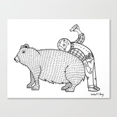 The Known Practice of using Domesticated Bears as cushions while drinking.  Canvas Print