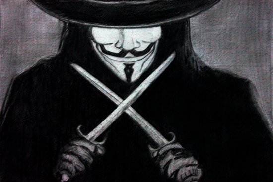 V for Vendetta  (by Esin )5 Canvas Print