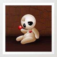 Voodoo Doll Cartoon in Love Art Print