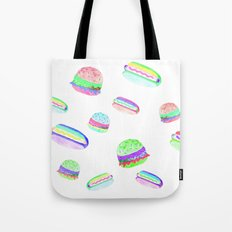 Colorful Hot-Dog and Burger Pattern Tote Bag