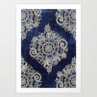 mandala Art Prints featuring Cream Floral Moroccan Pattern on Deep Indigo Ink by micklyn