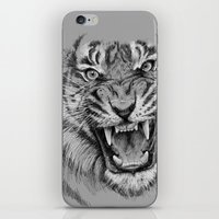 Tiger Drawing Black and White Animals iPhone & iPod Skin